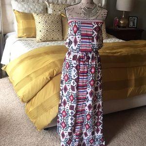 Aztec Print Sleeveless Maxi dress